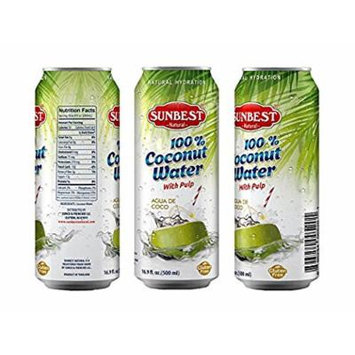 SUNBEST Pure Coconut Water, With Pulp, 16.9 Ounce (Pack of 12)