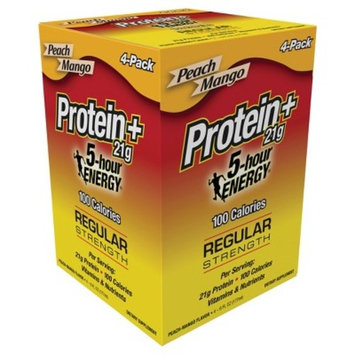 5-Hour Energy Protein+ Regular Strength Energy Drink - Peach Mango - 6oz/4ct