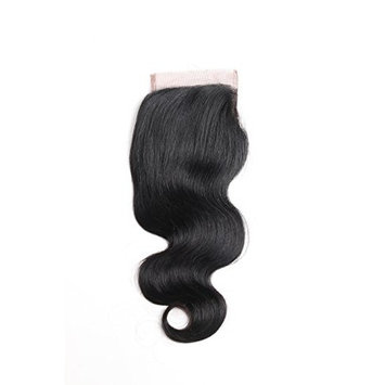 ISEE Hair Brazilian Body Wave Top Closure Unprocessed Human Hair Lace Closure Bleached Knots Free Part Closure Natural Black(14 inch)