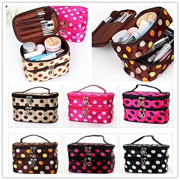 Kalevel Double Layer Dual Zipper Toiletry Travel Cosmetic Bag Makeup Bag Case Toiletry Bag Train Case Handbag Organizer for Women (Coffee+White)