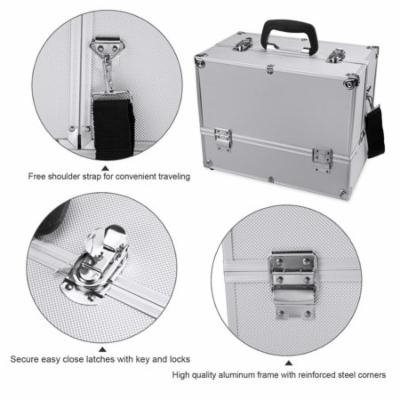 SPHP The worth buy Aluminum Alloy Makeup Train Case,Lockable Cosmetic Storage Box SPHP