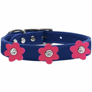 Flower Leather Collar Blue With Pink Flowers Size 22