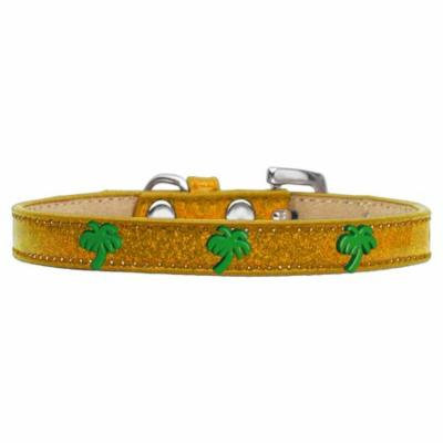 Green Palm Tree Widget Dog Collar Gold Ice Cream Size 18