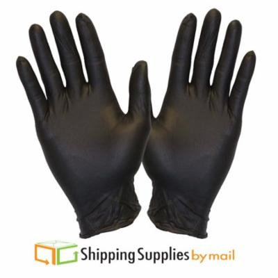 SSBM Disposable Nitrile Gloves, Powder-Free Latex-Free, Black, Large, 200 ct
