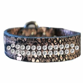 Two Row Clear Crystal Jeweled Dragon Skin Genuine Leather Dog Collar Copper Size 16