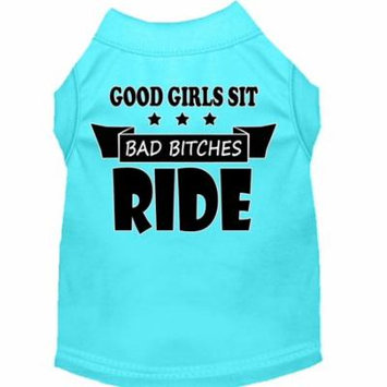 Bitches Ride Screen Print Dog Shirt Aqua Xs (8)