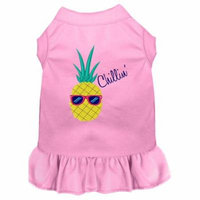 Pineapple Chillin Embroidered Dog Dress Light Pink 4x (22)