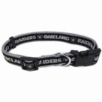 NFL OAKLAND RAIDERS DOG COLLAR. 32 NFL Teams & 4 Sizes available. - Strong, Durable, Heavy-Duty PET COLLAR. Officially Licensed Football Collar.