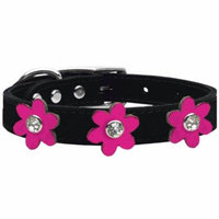 Metallic Flower Leather Collar Black With Metallic Pink Flowers Size 26