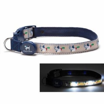 Light Up LED Dog Collar - Patented Light Up Durable Glowing Collar for Puppies and Dogs - by Dog e Glow (Ducks, small 8