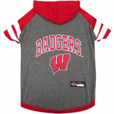 Pets First College Wisconsin Badgers Pet Hoody Tee Shirt, 4 Sizes Available