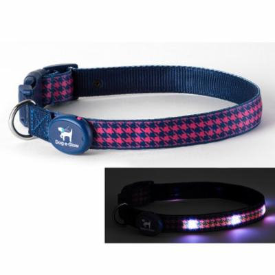 Light Up LED Dog Collar - Patented Light Up Durable Glowing Collar for Puppies and Dogs - by Dog e Glow (Pink Houndstooth, small 8