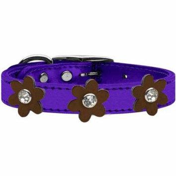 Metallic Flower Leather Collar Metallic Purple With Bronze Flowers Size 18
