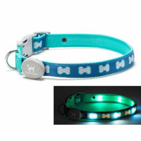 Light Up LED Dog Collar - Patented Light Up Durable Glowing Collar for Puppies and Dogs - by Dog e Glow (Blue Bones, small 8