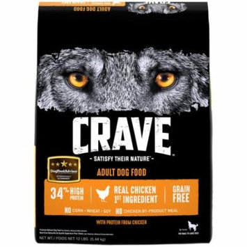 CRAVE Grain Free Adult Dry Dog Food with Protein from Chicken, 12 lb. Bag