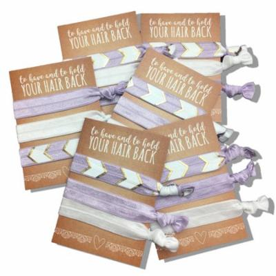 Jeune Marie Ribbon Hair Ties KIT No Crease Elastics Handtied Ouchless Ponytail Holders Hair Band Bracelet Favors for Bachelorette Parties, Bridal Showers, and More! (6 Pack, Purple)