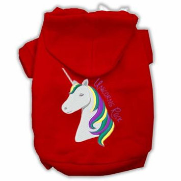 Unicorns Rock Embroidered Dog Hoodie Red S (10)