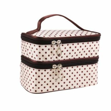 Handheld Women's Girls Polka Dotted Two-layer Cosmetic Makeup Bag Zipper Pouch Toiletry Bag Organizer (Creamy White)