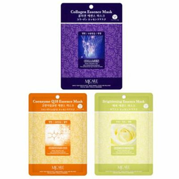 Skin Care Treatment Mask Pack Collagen - Coenzyme Q10 - Brightening Moisture Essence Face Facial Mask Package 6 Pcs (2 Pack of Each) - Korean Cosmetic Facial Beauty