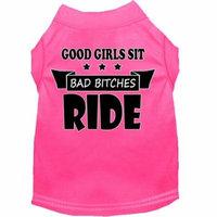 Bitches Ride Screen Print Dog Shirt Bright Pink Sm (10)