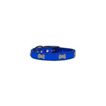 Crystal Bone Genuine Metallic Leather Dog Collar Blue 22