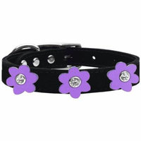 Flower Leather Collar Black With Lavender Flowers Size 22