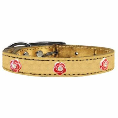 Red Rose Widget Genuine Metallic Leather Dog Collar Gold 26