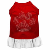 Rhinestone Clear Paw Dress Red With White Xs (8)