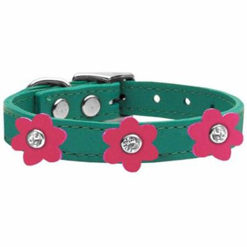 Flower Leather Collar Jade With Pink Flowers Size 24
