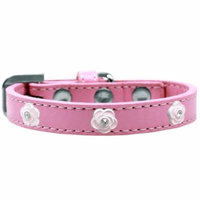 Light Pink Rose Widget Dog Collar Light Pink Size 14