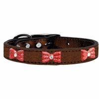 Red Glitter Bow Widget Genuine Metallic Leather Dog Collar Bronze 18