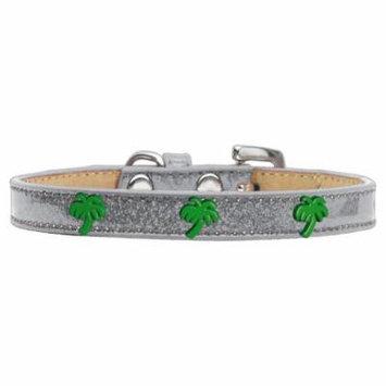 Green Palm Tree Widget Dog Collar Silver Ice Cream Size 12