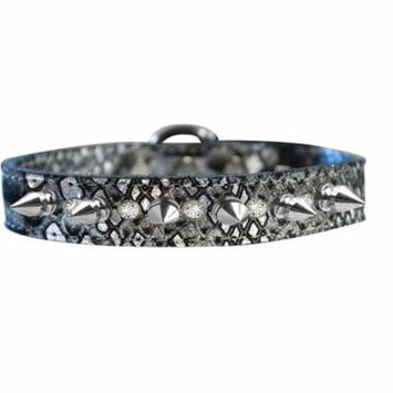 Silver Spike And Clear Crystal Dragon Skin Genuine Leather Dog Collar Silver Size 10