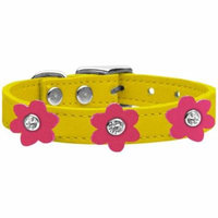 Flower Leather Collar Yellow With Pink Flowers Size 16