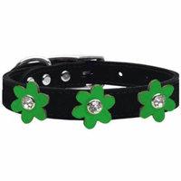 Metallic Flower Leather Collar Black With Metallic Emerald Green Flowers Size 20