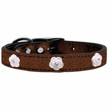 Light Pink Rose Widget Genuine Metallic Leather Dog Collar Bronze 24