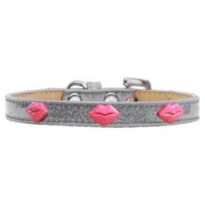 Pink Glitter Lips Widget Dog Collar Silver Ice Cream Size 20