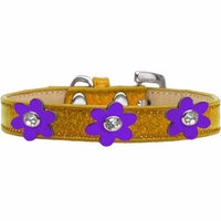 Metallic Flower Ice Cream Collar Gold With Metallic Purple Flowers Size 10