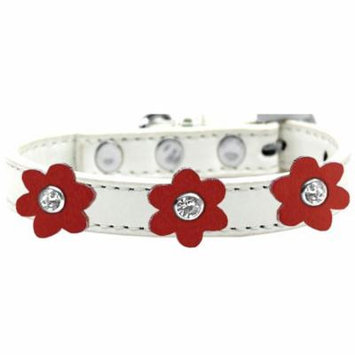 Flower Premium Collar White With Red Flowers Size 12