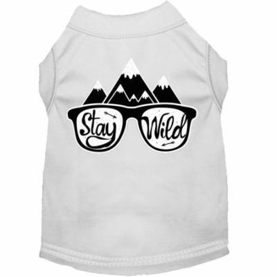Stay Wild Screen Print Dog Shirt White Xl (16)
