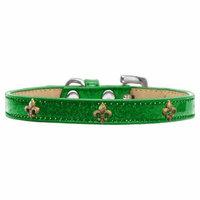 Bronze Fleur De Lis Widget Dog Collar Emerald Green Ice Cream Size 20