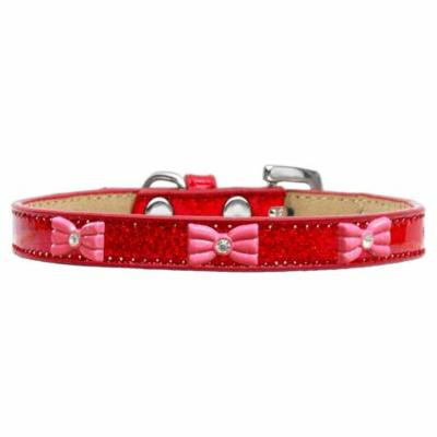 Pink Glitter Bow Widget Dog Collar Red Ice Cream Size 20
