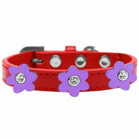 Flower Premium Collar Red With Lavender Flowers Size 18
