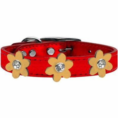 Metallic Flower Leather Collar Metallic Red With Gold Flowers Size 26