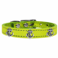 Silver Anchor Widget Genuine Metallic Leather Dog Collar Lime Green 22