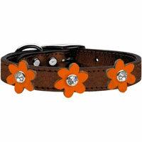 Metallic Flower Leather Collar Bronze With Metallic Orange Flowers Size 10