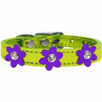 Metallic Flower Leather Collar Metallic Lime Green With Metallic Purple Flowers Size 24