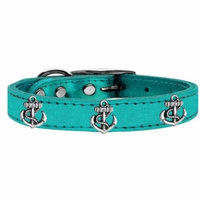 Silver Anchor Widget Genuine Metallic Leather Dog Collar Turquoise 20