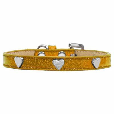 Silver Heart Widget Dog Collar Gold Ice Cream Size 18