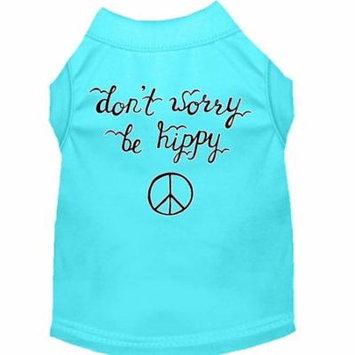 Be Hippy Screen Print Dog Shirt Aqua Lg (14)